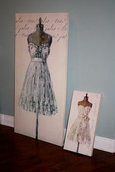 Dressform Canvas' for my shabby chic/vintage-y craft room. TJ Maxx find!