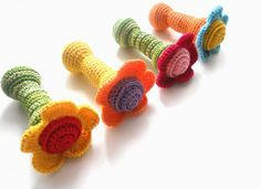 Organic teething toy Waldorf RATTLE Shower gift for babies Crochet FLOWER toy Gift for Baby girl. $15.00, via Etsy.