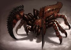 Saber Spider: Saber Spiders are heavily armored and possess serrated blades on their forlegs. Few creatures can stand against their bloodlust. Monster Art, Monster Concept Art, Monster Design, Spider Art, Giant Spider, Alien Creatures, Mythical Creatures, Creature Feature, Creature Design