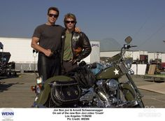 Jon Bon Jovi & Arnold Schwarzenegger On set of the new Bon Jovi video Crush