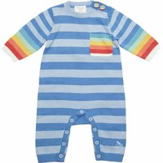 Bonnie Baby Striped Coverall with Rainbow Trim at Barneys.com