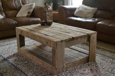 Pallet Table Plans Rustic pallet Coffee Table - Here is an example of the Unique Rustic Furniture that is unlike anything you will find in the United Arab Emirates (UAE). This Rustic Coffee Table is made Rustic Coffee Tables, Diy Coffee Table, Rustic Table, Coffee Ideas, Coffee Table Made From Pallets, Rustic Farmhouse, Rustic Wood, Distressed Wood, Coffee Table Out Of Pallets