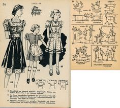 1940s (1941) German Women's and Girl's Dirndl Lutterloh 1941A-54