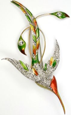 MB Boucher Pave and Metallic Enamel Bird Male Marvellous Spatuletail Hummingbird Pin