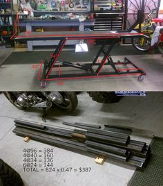 Could use angle iron as well- Lift cost breakdown. Could use angle iron as well Lift cost breakdown. Could use angle iron as well - Motorcycle Lift Table, Bike Lift, Motorcycle Workshop, Motorcycle Garage, Garage Tools, Garage Shop, Garage Workshop, Welding Shop, Welding Table