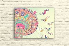 Print by SSC Photography on Etsy Carnival Photography, Swings. carnival ride. santa cruz beach boardwalk. colorful. pastel. nursery decor. happy art. people. pink. yellow. #nurseryart