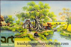 tranh đồng quê sơn dầu đẹp thích hợp treo phòng khách gia đình, vẽ tranh đồng quê đẹp mang vẻ đẹp thanh bình nông thôn việt nam, tranh đồng quêhttp://tranhphongthuyvietnam.com/san-pham/tranh-dong-que-son-dau/
