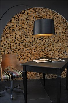 The Cambrian - Member of Design Hotels™ - Adelboden, Switzerland - 2007 - Peter Silling & Associates . a well stocked house. Inspiration Wall, Interior Design Inspiration, Architecture Details, Interior Architecture, Log Wall, Timber Walls, Fireplace Design, Wall Treatments, Rustic Design