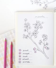 Spring Bullet Journal Layout : Cherry Blossoms