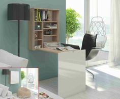 This folding computer desk/table is simple and useful. Its large wall mounted desk, which is made from high quality material surfac. It is multifunctional desk, can be use as dinning table,computer desk,workstation. Pc Table, Table Desk, Folding Study Table, Decoration Gris, Wall Mounted Desk, Foldable Table, Design Moderne, Office Furniture, Desks