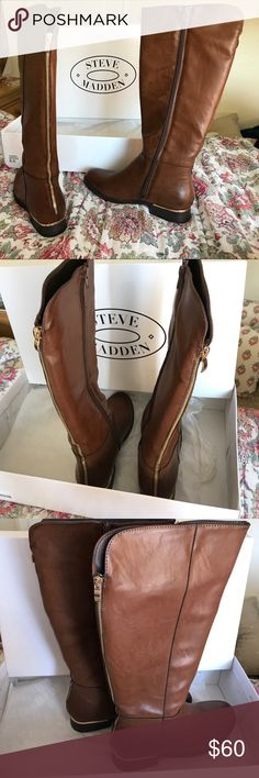 Steve Madden Brown Leather Boots Brand new, never been worn. Brown Steve Madden boots with gold trim around the heel and gold zipper down the back. Steve Madden Shoes Over the Knee Boots