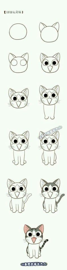 Nice diagram for drawing this animated tabby cat.