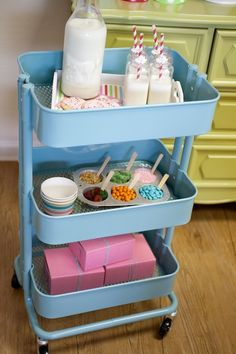 The Ultimate Cookie Birthday Party - we love this use of an IKEA cart as a milk and cookie station!