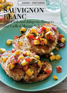 These tropical-inspired burgers use crab as a lean protein base. The salsa imparts a smoky flavor to the patties, thanks to a quick stint on a grill pan before dicing and mixing. Pair with a New Zealand Sauvignon Blanc for a refreshing summer meal. #BurgerMonth #WineWednesday