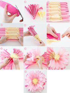 How to Make Crepe-Paper Flowers Paper Flowers Craft, Tissue Paper Flowers, Flower Crafts, Diy Flowers, Fabric Flowers, Peony Flower, Paper Sunflowers, Paper Flower Tutorial, Diy Arts And Crafts