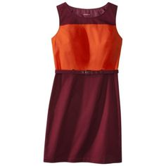 Merona® Women's Belted Sheath Dress - Cherry - The colour blocking is great for pear shaped girls.