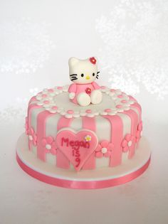 Pink Stripey Hello Kitty Birthday Cake | Flickr - Photo Sharing!