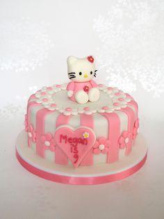 Pink Stripey Hello Kitty Birthday Cake by madebymariegreen, via Flickr