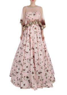 Caped floral beauty gown |  Shop now: www.thesecretlabel.com