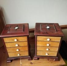 Load image into Gallery viewer, Pair of Miniature Mahogany Chest of Drawers Wood Drawers, Chest Of Drawers, Drawer Dividers, Miniatures, Pairs, Antiques, Furniture, Gallery, Home Decor