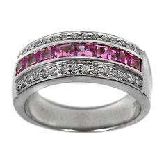 Wedding Band - Nine Stone Princess Cut Pink Sapphires and Round Diamonds Wedding Band 1.30 tcw.