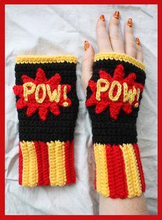 Crochet Pow! Comic Book Fingerless Gloves by ~sapphiresphinx on deviantART