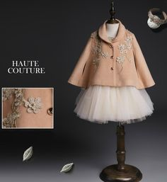 Embroidered Floral Wool Coat-Made To Order - High Quality Shawl Collar Vintage Infant Toddler Little & Big Girl Embroidered Flower Cape/Cloak. Available from 3 -14 years. Material: Cotton lining & Wool. Color: Light Camel. Please do compare your little girl measurements with our size chart.