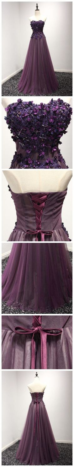 MODEST A-LINE PROM DRESS,SWEETHEART GRAPE PROM DRESS LONG TULLE APPLIQUE CHIC PROM DRESS H01452