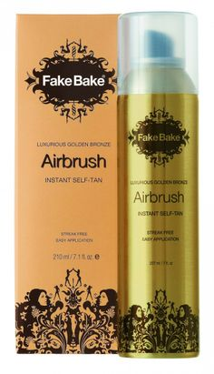 Fake Bake Airbrush Instant Self Tan Spray- Get a gorgeous summer glow without exposing yourself to the damaging rays of the sun by using Fake Bake Airbrush self tanning spray. The easy-to-use tanner is designed to deliver a fine mist as a continuous spray to evenly coat your skin while preventing streaks. $31.95 on http://www.faceandbodyshoppe.com