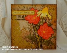 Pushing The Right Buttons: Stunning card - mixed media thinlets and new flower stamps