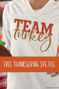 Free Thanksgiving 'Team Turkey' SVG cut file for Silhouette Portrait or Cameo and Cricut Explore or Maker. Silhouette Cameo Files, Thanksgiving Diy, Silhouette Portrait, Free Svg Cut Files, Cricut Creations, Diy Shirt, Holiday Outfits, Svg Cuts, Turkey