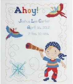 Ships Ahoy Birth Record - Cross Stitch Kit