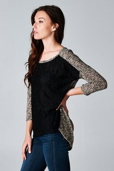 Knit Dianna Top in Black Lace