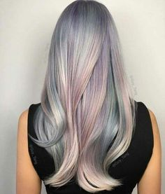 Opal hair color with mother of pearl by Guy Tang. Opal Hair, Cotton Candy Hair, Mermaid Hair, Gorgeous Hair, Amazing Hair, Pretty Hairstyles, Gray Hairstyles, Updo Hairstyle, Bride Hairstyles