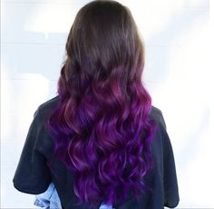 Vibrant brown hair to purple ombre at Oliver Finley Academy of Cosmetology