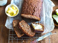 If you're a fan of banana bread, you're going to love Nici Wickes' delicious version made with pears! Studded with walnuts and easily altered to be gluten or dairy-free, this recipe is a winner My Favorite Food, Favorite Recipes, Loaf Recipes, Some Recipe, I Foods, Food Hacks, Food Inspiration, Dairy Free, Gluten Free