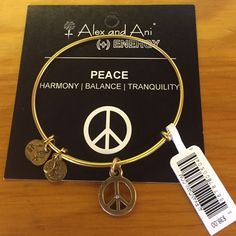 Alex and Ani Peace bracelet in gold NWT Gold Peace Alex and Ani bracelet !!!✌️ Alex & Ani Jewelry Bracelets
