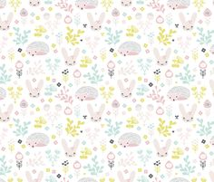 Adorable spring blossom flower garden bunny and hedgehog illustration print for little girls fabric by littlesmilemakers on Spoonflower - custom fabric