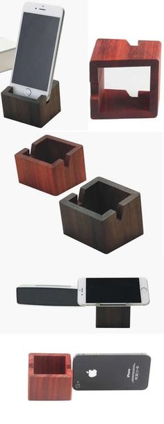 Bamboo Wooden cube iPhone iPad Smart Phone Holder Dock Mount Business Card Display Stand Holder Office Desk Supplies Stationary Organizer