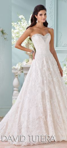 David Tutera for Mon Cheri ball gown with sweetheart neckline wedding dress