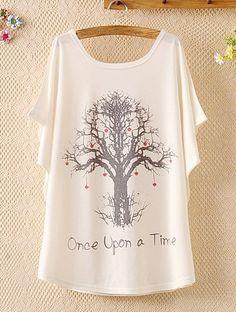 Wishing Tree Print Casual Scoop Neck Batwing Sleeve T-Shirt For Women. << Worldwide Free shipping >>