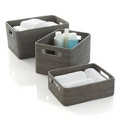 For bedroom organization  Sedona Grey Totes | Crate and Barrel