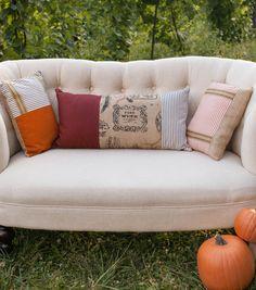Burlap Patchwork Pillows