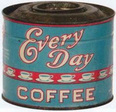 Antique Coffee and Antique Tea Price Guide With Descriptions and Photos Coffee Label, Coffee Packaging, Coffee Branding, Coffee Canister, Coffee Tin, Coffee Shop, Vintage Tins, Vintage Labels, Vintage Kitchen