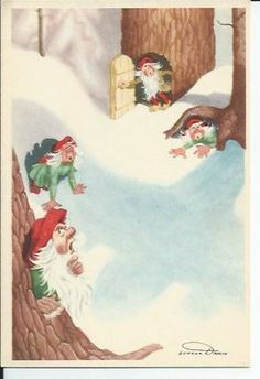Stamps, coins and banknotes, postcards or any other collectable items are on Delcampe! Goblin, Vintage Postcards, Troll, Vintage Art, Pixie, Christmas Cards, Stamp, Painting, Xmas Cards