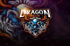 , Dragon Killer - Mascot & Esport Logo- Suitable for your personal or squad logo, All elements on this template are editable with adobe illustrator! Editable Text, Before you open the Logo Files, you must install the font first in the Creative Logo, Logo Dragon, Channel Logo, Game Logo Design, Esports Logo, Mobile Legend Wallpaper, Branding, Mascot Design, Logo Templates