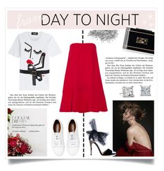 """""""Day to Night with a red dress"""" by kelly-m-o ❤ liked on Polyvore featuring Dsquared2, Valentino, Acne Studios, Ann Taylor, Blue Nile, Jimmy Choo and Rauwolf"""