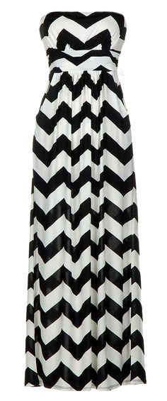 Chevron zig zag maxi dress | black + white