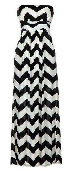 Chevron zig zag maxi dress   black + white