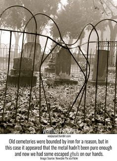Prompt: Old cemeteries were bounded by iron for a reason, but in this case it appeared that the metal hadn't been pure enough and now we had some escaped ghuls on our hands. Image Source: micadew via...